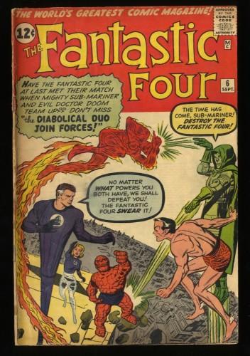 Fantastic Four #6 VG- 3.5 2nd Doctor Doom! Marvel Comics