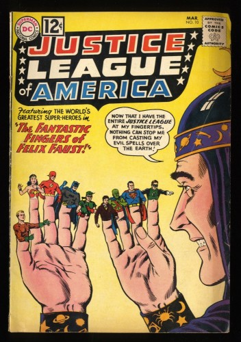 Justice League Of America #10 VG- 3.5 1st Felix Faust! DC Comics