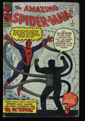 Amazing Spider-Man #3 VG- 3.5 1st Doctor Octopus! Marvel Comics Spiderman