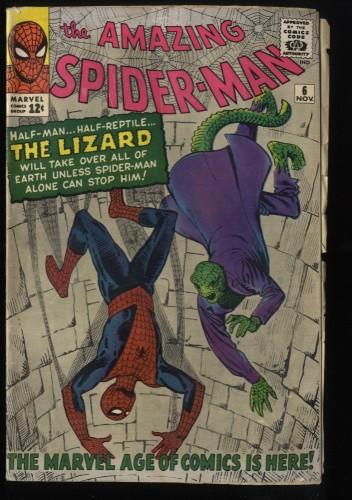 Amazing Spider-Man #6 GD/VG 3.0 1st Lizard! Marvel Comics Spiderman