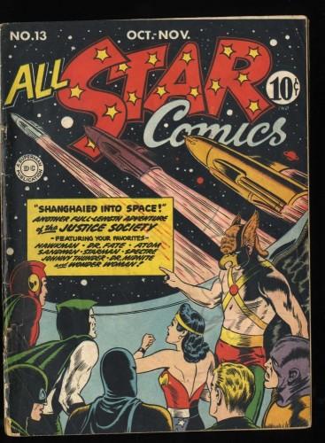 All-Star Comics #13 GD/VG 3.0 (Restored) Wonder Woman Hawkman Spectre!