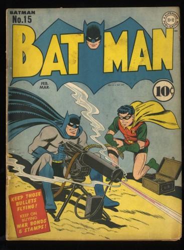 Batman #15 VG 4.0 WWII War Machine Gun Cover!