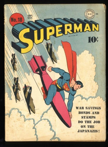 Superman #18 GD/VG 3.0 WWII War Cover!