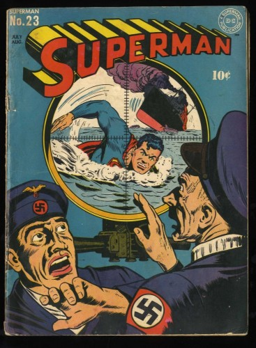 Superman #23 VG 4.0 Jack Burnley WWII Nazi War Cover!