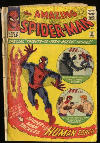 Amazing Spider-Man #8 Fair 1.0 1st Living Brain!  Human Torch!