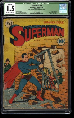 Superman #5 CGC FA/GD 1.5 Off White to White (Married Cover)