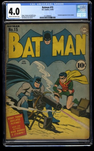 Batman #15 CGC VG 4.0 Cream To Off White WWII War Machine Gun Cover!