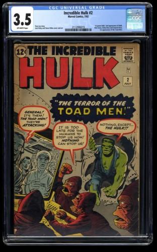Incredible Hulk (1962) #2 CGC VG- 3.5 Off White 1st Green Hulk!