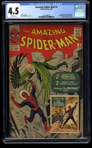 Amazing Spider-Man #2 CGC VG+ 4.5 Off White 1st Vulture! Marvel Comics Spiderman
