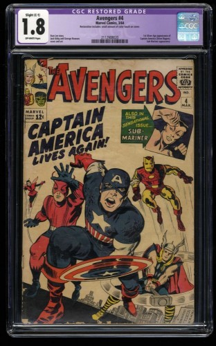 Avengers #4 CGC GD- 1.8 Off White 1st Silver Age Captain America!
