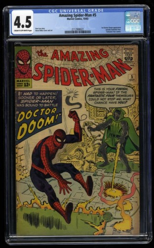 Amazing Spider-Man #5 CGC VG+ 4.5 Cream To Off White Doctor Doom!