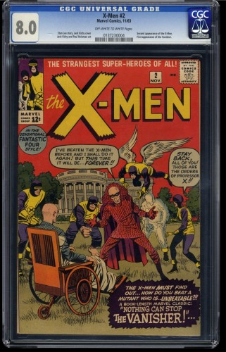 X-Men #2 CGC VF 8.0 Off White to White 1st Vanisher! Marvel Comics