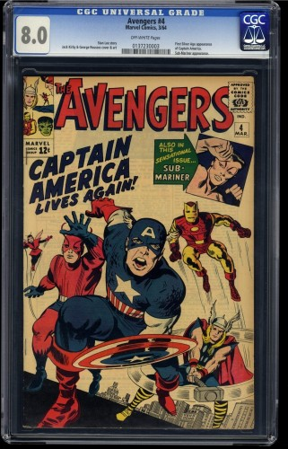Avengers #4 CGC VF 8.0 Off White 1st Silver Age Captain America!