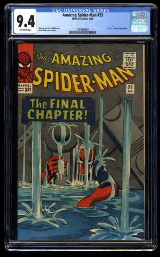 Amazing Spider-Man #33 CGC NM 9.4 Classic Cover! Marvel Comics Spiderman