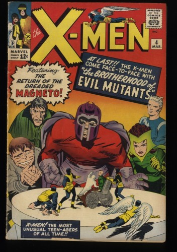 X-Men #4 VG+ 4.5 1st Scarlet Witch and Quicksilver! Marvel Comics
