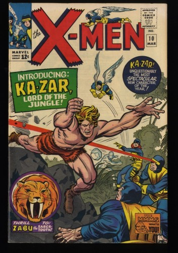 X-Men #10 FN+ 6.5 1st Ka-Zar! Marvel Comics
