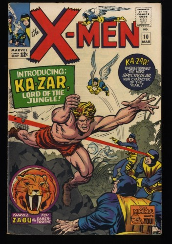 X-Men #10 VF- 7.5 1st Ka-Zar! Marvel Comics