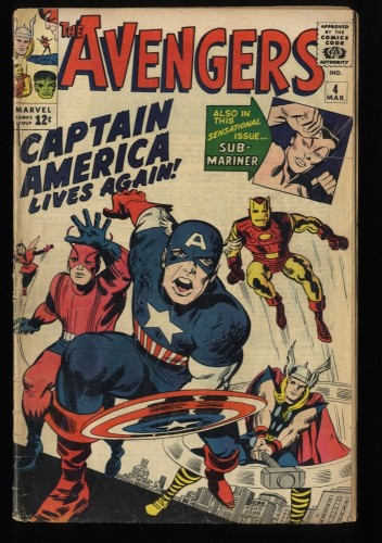Avengers #4 GD+ 2.5 1st Silver Age Captain America!
