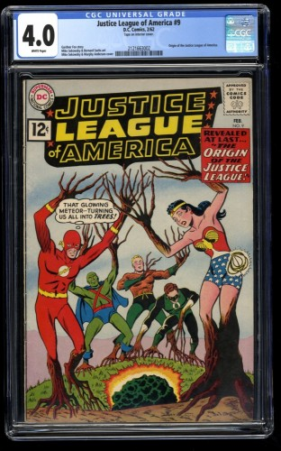 Justice League of America #9 CGC VG 4.0 White Pages Origin Issue! DC Comics