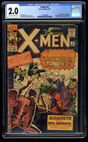X-Men #5 CGC GD 2.0 Off White to White 2nd Magneto! Marvel Comics