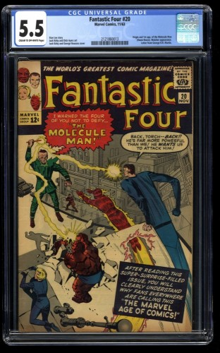 Fantastic Four #20 CGC FN- 5.5 Cream To Off White 1st Molecule Man!