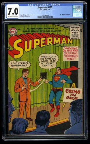 Superman #103 CGC FN/VF 7.0 Off White to White 1st Cosmo The Great!