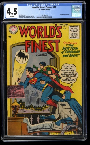 World's Finest Comics #75 CGC VG+ 4.5 White Pages
