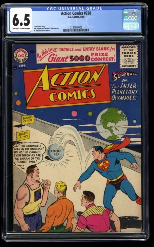 Action Comics #220 CGC FN+ 6.5 Off White to White Olympics! DC Superman