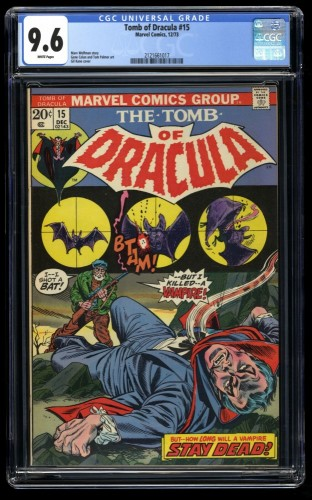 Tomb of Dracula #15 CGC NM+ 9.6 White Pages Marvel Comics