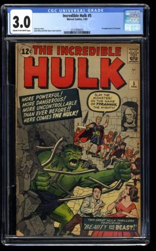 Incredible Hulk (1962) #5 CGC GD/VG 3.0 Cream To Off White 1st Tyrannus!