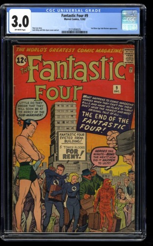 Fantastic Four #9 CGC GD/VG 3.0 Off White Marvel Comics