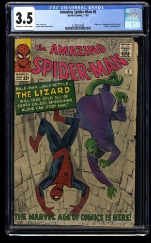 Amazing Spider-Man #6 CGC VG- 3.5 Off White to White 1st Lizard!