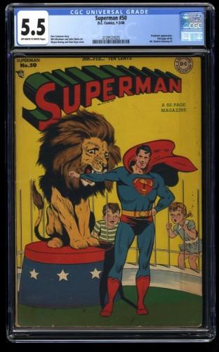 Superman #50 CGC FN- 5.5 Off White to White
