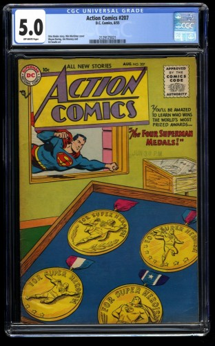 Action Comics #207 CGC VG/FN 5.0 Off White DC Superman DC Superman
