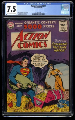 Action Comics #219 CGC VF- 7.5 Off White to White Superman's Treasure!