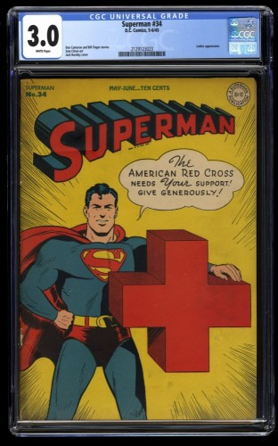 Superman #34 CGC GD/VG 3.0 White Pages