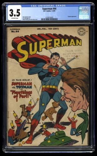 Superman #44 CGC VG- 3.5 Off White Vs. Toyman!