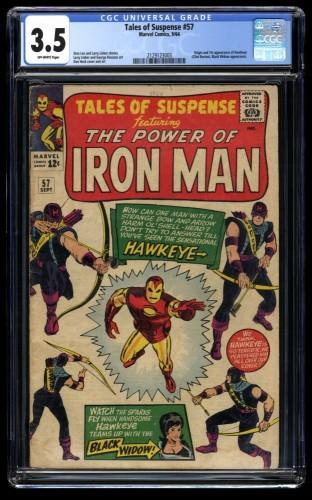 Tales of Suspense #57 CGC VG- 3.5 Off White 1st Hawkeye! Iron Man