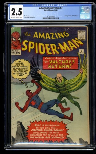 Amazing Spider-Man #7 CGC GD+ 2.5 Off White to White Vulture!