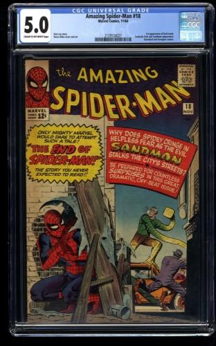 Amazing Spider-Man #18 CGC VG/FN 5.0 Cream To Off White Sandman!