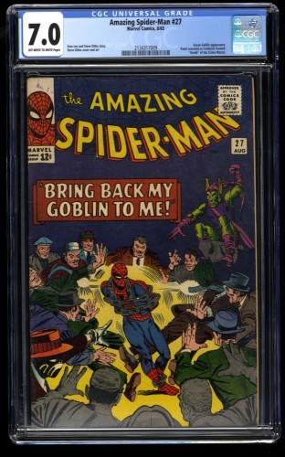 Amazing Spider-Man #27 CGC FN/VF 7.0 Off White to White Green Goblin!