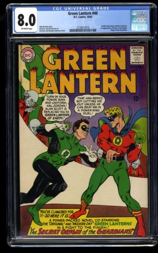 Green Lantern #40 CGC VF 8.0 Golden Age GL Crossover!  Origin of The Guardians!