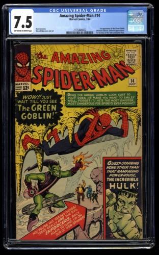 Amazing Spider-Man #14 CGC VF- 7.5 Off White to White 1st Green Goblin!