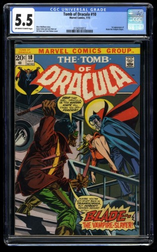 Tomb of Dracula #10 CGC FN- 5.5 Off White to White 1st Blade! Marvel Comics