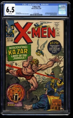 X-Men #10 CGC FN+ 6.5 White Pages 1st Ka-Zar! Marvel Comics