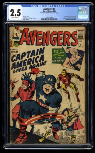 Avengers #4 CGC GD+ 2.5 Slightly Brittle 1st Silver Age Captain America!