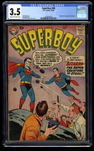 Superboy #68 CGC VG- 3.5 Cream To Off White 1st Bizarro! DC Comics Superman