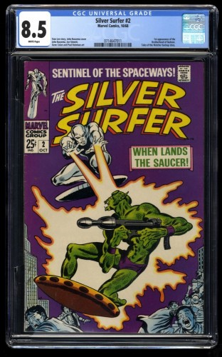 Silver Surfer #2 CGC VF+ 8.5 White Pages 1st Badoon Marvel Comics