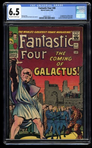 Fantastic Four #48 CGC FN+ 6.5 Off White to White 1st Galactus Silver Surfer!