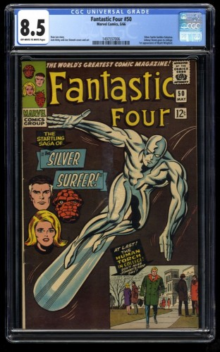 Fantastic Four #50 CGC VF+ 8.5 Off White to White 3rd Silver Surfer!